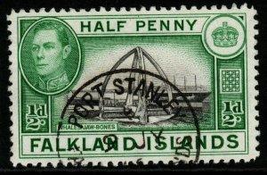 FALKLAND ISLANDS SG146 1938 ½d BLACK & GREEN FINE USED