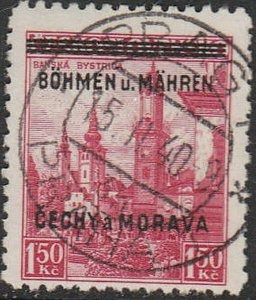 Stamp Germany Bohemia Czechoslovakia Mi 012 Sc 012 1940 WWII 3rd Reich War Used