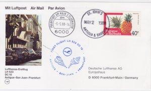 Antigua 1988, Lufthansa FFC, Antigua - San Juan - Frankfurt with DC10