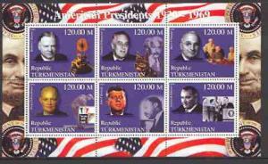 Turkmenistan 2000 US Presidents #02 perf sheet of 6 unmou...