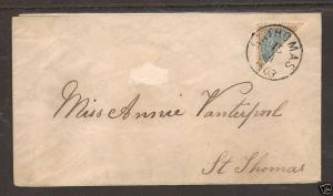 Danish West Indies Sc 18a Bisect on 1903 local cover