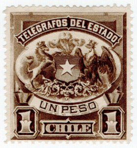 (I.B) Chile Telegraphs : 1P Brown (large format)
