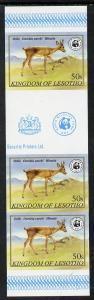 Lesotho 1981 WWF - Oribi 50s imperf gutter strip of 3 unm...