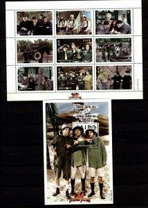 Mongolia 1998 The 3 Stooges Commemorative Mini Sheet & Souvenir Sheet 10 Stamps
