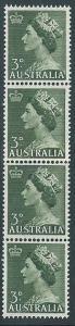 AUSTRALIA 1953 QE 3d COIL JOIN strip of 4 MNH..............................40957