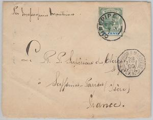 51908 - MAURITIUS -  POSTAL HISTORY - COVER  from CUREPIPE  to FRANCE 1899