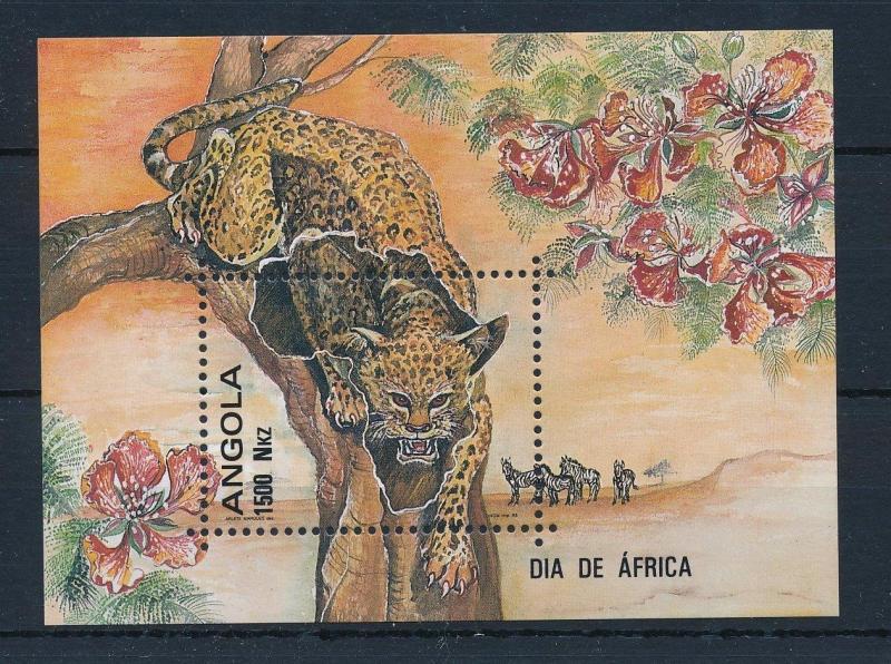 [31216] Angola 1993 Wild Life Leopard Flowers Orchids MNH Sheet