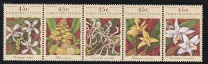 Christmas Island #  363, Orchids, Strip of Five, NH, 1/2 Cat.