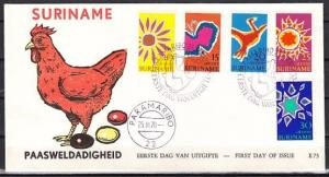 Suriname, Scott cat. B162-B166. Easter issue. Stylized B/fly. First day cover.