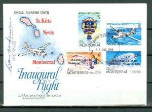 MONTSERRAT PRIVATE COVER.. INAUGURAL FLIGHT MONTS-NEVIS-ST.KITTS .. #503-506
