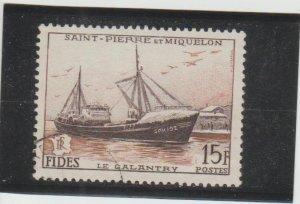 St. Pierre & Miquelon  Scott#  350  Used  (1956 Le Galantry)