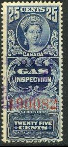CANADA 1897 QV 25c GAS INSPECTION REVENUE VDM. FG18 F-VF USED