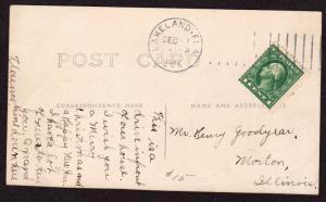 $Florida Machine Cancel Cover, Lakeland, 12/xx/1912, vertical lines 15 1/2 mm