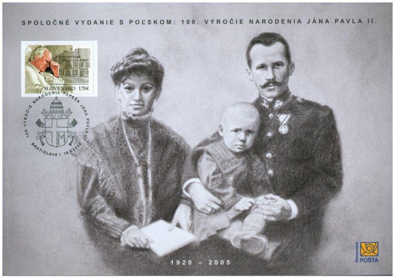 SLOVAKIA/2020 - (Commemorative Sheet) Joint Issue Poland: Pope John Paul II, MNH