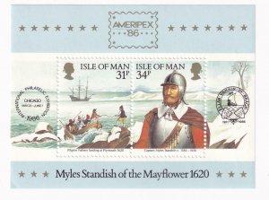 ISLE OF MAN VF-MNH AMERIPEX MYLES STANDISH OF THE MAYFLOWER S/SHEET