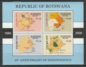 Botswana 2006 Maps, Flags MNH Block