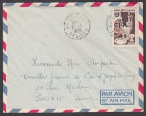 REUNION 1956 8cfa overprint on cover St Denis to France.....................N629