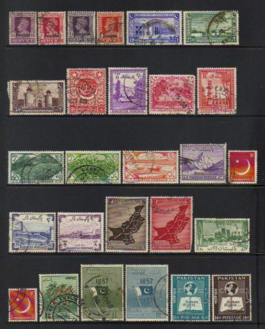 PAKISTAN 1948-1958 USED SELECTION INCL SETS