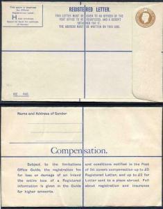 RP56 KGVI 5 1/2d Registered Envelope Size H Serif IMPRINT M COOK and SON MINT