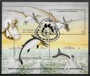 St. Thomas & Prince Islands Islands Used S/S Prehistoric Fauna