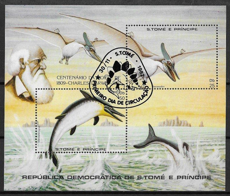 St. Thomas & Prince Islands Islands Used S/S Prehistoric Fauna