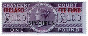 (I.B) QV Revenue : Ireland Chancery Fee Fund £1 (specimen)