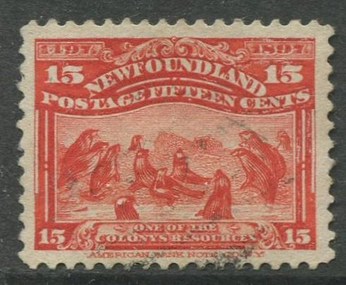 Newfoundland - Scott 70 - QV Definitive - 1897 - FU - Single15c Stamp