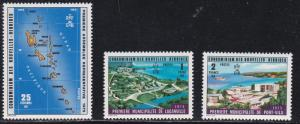Fr. New Hebrides, #  227-229, Map & Scenes, NH