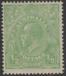 AUSTRALIA SG20 1915 ½d BRIGHT GREEN MTD MINT