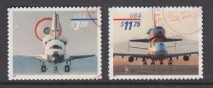 US Sc 3261-3262 used. 1998 $3.20 Priority, $11.75 Express Mail Space Shuttle