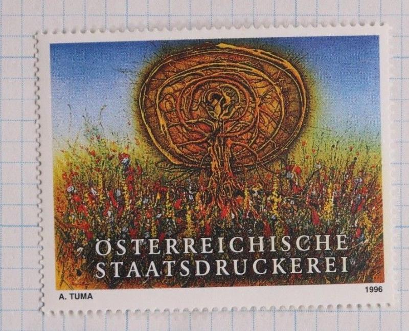 Austrian state printing house Tuma 1996 printer art ad Poster stamp seal DL
