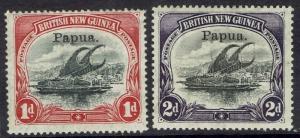 PAPUA 1907 LAKATOI OVERPRINTED SMALL PAPUA 1D AND 2D VERTICAL WMK