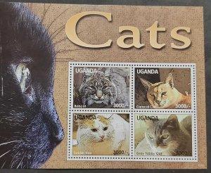 SL) UGANDA, CATS, FELINE, ANIMALS, SOUVENIRS SHEET