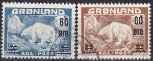 Greenland #39-40 F-VF Used CV $10.60 (Z8093)