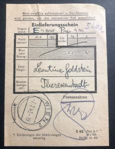 1943 Vienna Germany Theresienstadt Concentration Camp Cover Money Order Receipt