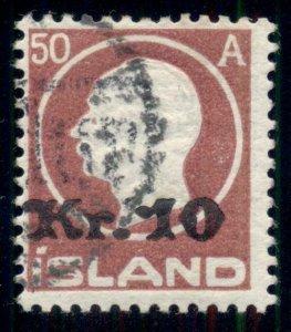 ICELAND #140 (122) 10kr on 50aur Ovpt, used, F/VF, Nielsen cert Scott $450.00
