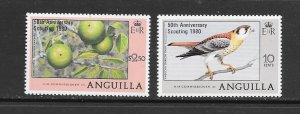 BIRDS - ANGUILLA #387-8  SCOUTING ANNIVERSARY OVERPRINT  MNH