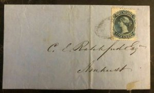 1861 Nova Scotia Canada Letter Sheet Vintage Cover To Amherst