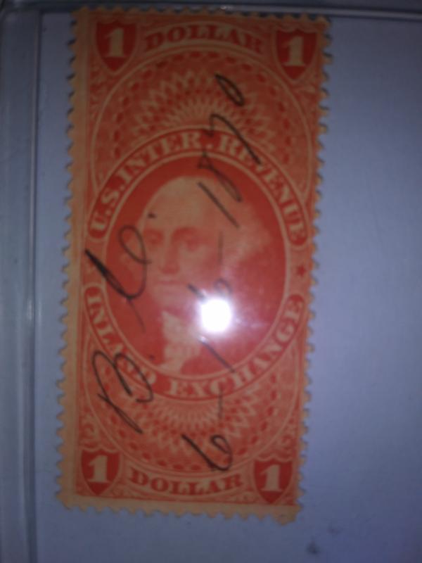 SCOTT # R69 ONE DOLLAR INLAND EXCHANGE 1870 !!!