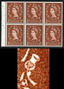 SB78f 2d Light Red-Brown Wmk Edward Upright White Flaw Thistle Pane of 6 U/M
