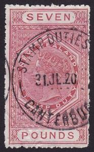 NEW ZEALAND 1880 STAMP DUTY £7 used.........................................7795