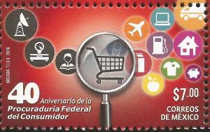 RJ)2016 MEXICO, TRAFFIC SIGNS, 40TH ANNIVERSARY OF THE FEDERAL CONSUMER