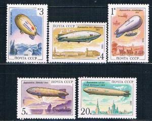 Russia 6012-16 MNH set Airships 1991 (R0496)+