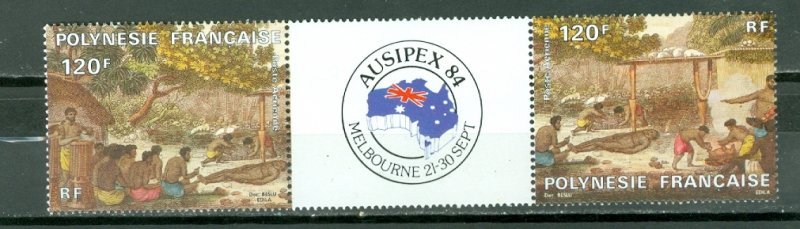 FRENCH POLYNESIA 1984 AUSIPEX 84 #C210a...PAIR + LABEL MINT