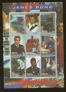 Turkmenistan Commemorative Souvenir Stamp Sheet - James Bond 007