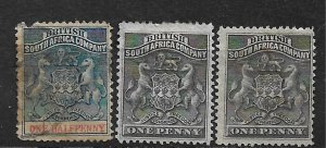 COLLECTION LOT OF 3 BRITISH SOUTH AFRICA COMPANY 1890+ STAMPS CLEARANCE CV+ $40
