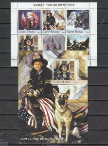 Guinea Bissau, 2003 issue. Attack on N.Y. Firemen`s Valor on sheet/6 & s/sheet.