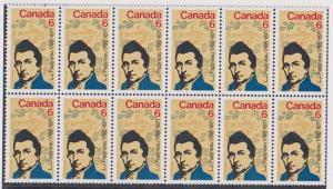 Canada USC #539ii Mint Block of 12 - F/MF Cat. $42. Papineau 6c