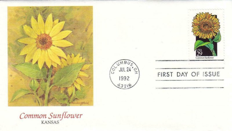 1992, Wildflowers, Common Sunflower, Unaddressed, FDC (D7423)