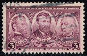 US #787 Sherman; Grant and Sheridan; Used (0.25)